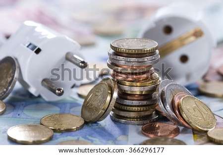 European money Energy Costs concept (detailed close-up shot) - stock photo