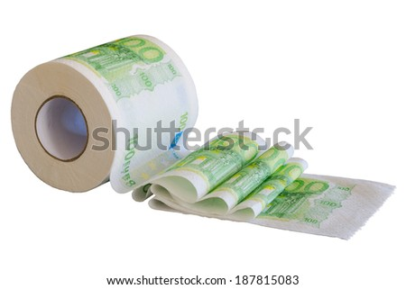 European money paint on toilet paper. Reeled off roll isolated on white.  - stock photo