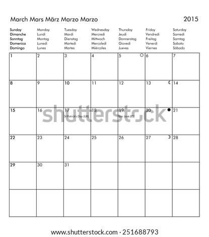 bank holidays for all countries and moon phases - March - stock photo ...