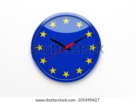 European political crisis concept. Euro flag 3d clock isolated. - stock photo