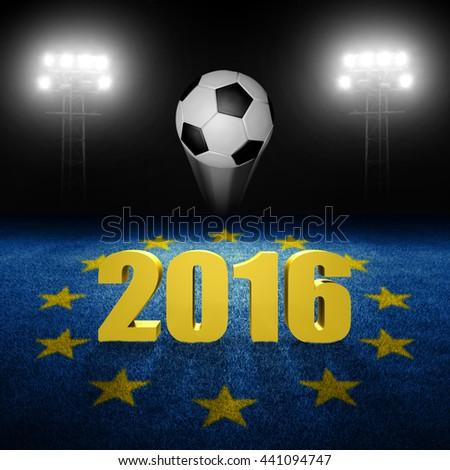 European soccer in 2016 concept, 3D rendering - stock photo