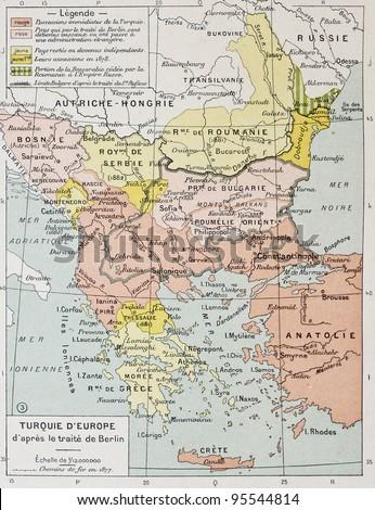European Turkey after Treaty of Berlin (1878) old map. By Paul Vidal de Lablache, Atlas Classique, Librerie Colin, Paris, 1894 - stock photo