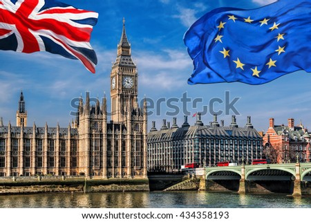 European Union and British Union flag flying against Big Ben in London, England, UK - stock photo