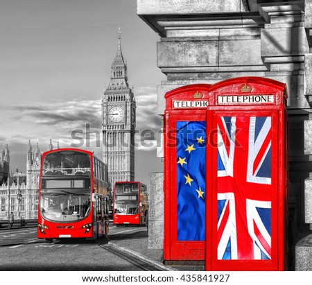 European Union and British Union flag on phone booths against Big Ben in London, England, UK, Stay or leave, Brexit - stock photo