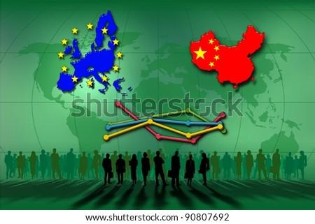 European Union and China: statistics lines - stock photo