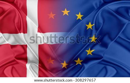 European Union and Denmark. The concept of relationship between EU and Denmark. - stock photo