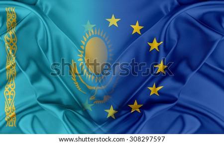 European Union and Kazakhstan. The concept of relationship between EU and Kazakhstan. - stock photo