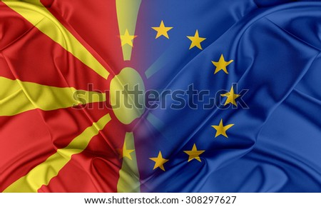European Union and Macedonia. The concept of relationship between EU and Macedonia. - stock photo