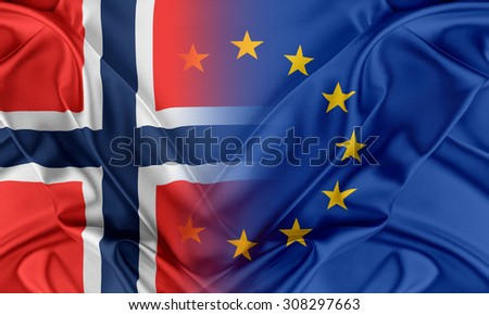 European Union and Norway. The concept of relationship between EU and Norway. - stock photo