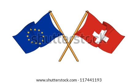 European Union and Switzerland alliance and friendship - stock photo