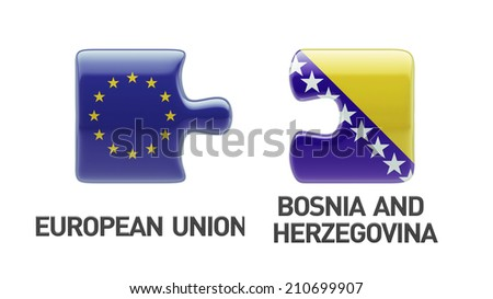 European Union Bosnia and Herzegovina High Resolution Puzzle Concept - stock photo
