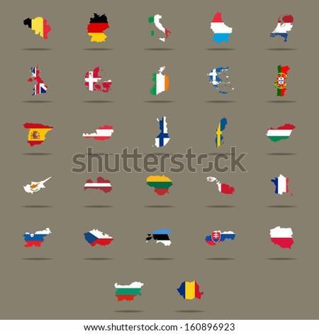European Union country flags set. Raster version - stock photo