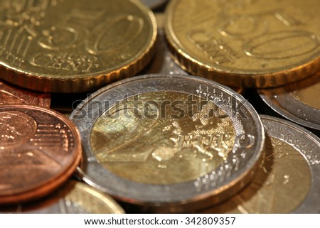 European Union Currency Coins - stock photo