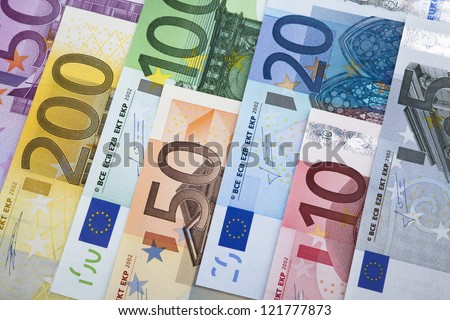 European Union Currency. Group of euro banknotes - stock photo