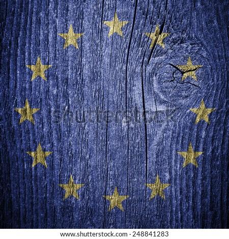 European Union EU flag on the grunge wood wall - stock photo