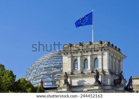 European Union (EU) flag on the national German parliament (Reichstag building) - stock photo