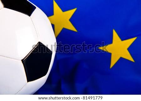 european union flag and football closeup - stock photo
