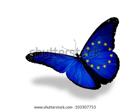 European Union flag butterfly flying, isolated on white background - stock photo