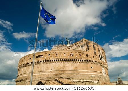 European Union flag in Castel Sant'Angelo, Rome - stock photo