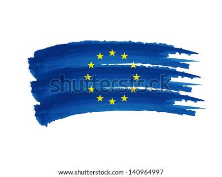 European Union flag - isolated hand drawn illustration - stock photo