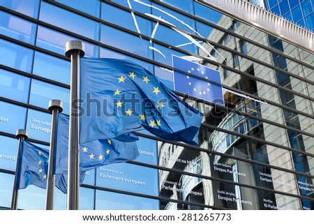 European Union flags in front of the European Parliament in Brussels, Belgium - stock photo
