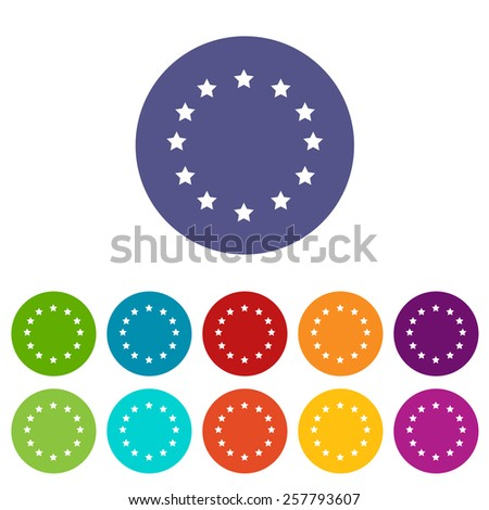 European Union flat icon in different colors - stock photo
