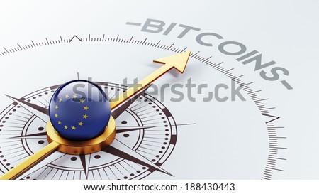 European Union High Resolution Bitcoin Concept - stock photo