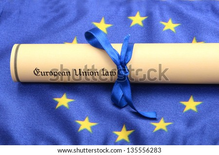 European union law on the European union flag , EU legal system concept - stock photo