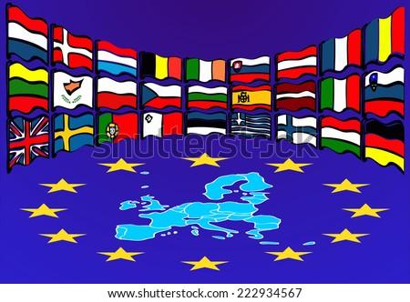 European Union Map. European Union country flags  - stock photo