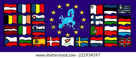 European Union Map. European Union country flags  - stock photo
