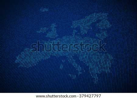 European Union map made out of binary code - stock photo