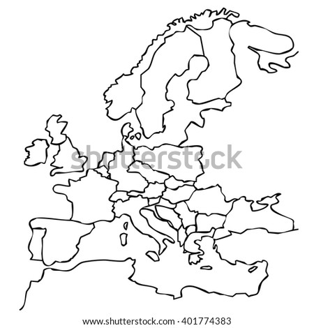 European union map represented by black jagged stretch of white background - stock photo
