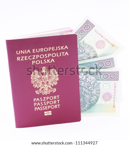 European Union passport and polish money - stock photo
