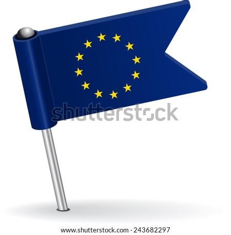European Union pin icon flag. Raster version - stock photo
