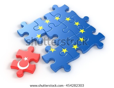 European Union Puzzle and one Puzzle Piece With Turkey Flag. 3D illustration - stock photo