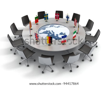 european union round table - EU meeting, conference 3d concept - stock photo