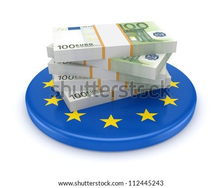 European Union symbol and packs of euro.Isolated on wihte.3d rendered. - stock photo