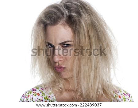European woman expression - stock photo