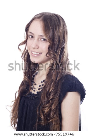European woman standing against white background - stock photo