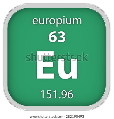 Europium material on the periodic table. Part of a series. - stock photo