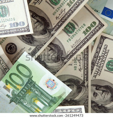 Euros and dollars are main money in the world - stock photo