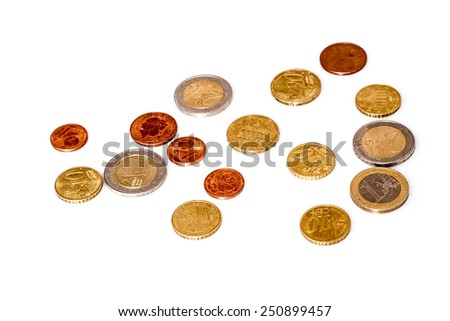 Euros coins with shadow and reflection on white background - stock photo