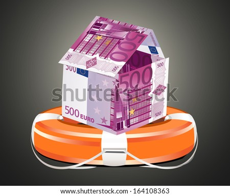 Euros House with Life Buoy. Insurance concept. - stock photo