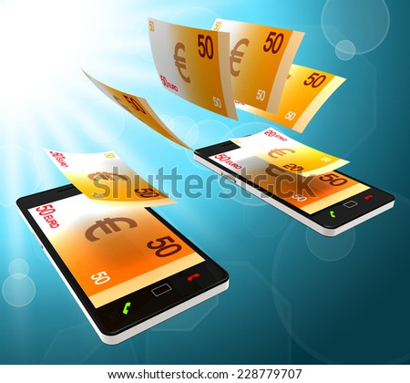 Euros Transfer Showing Phone Financing And Currency - stock photo