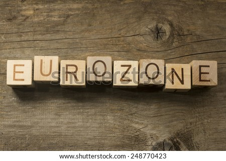 Eurozone eord on a wooden background - stock photo