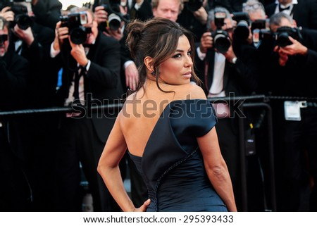 Eva Longoria attends the 'Carol' premiere during the 68th annual Cannes Film Festival on May 17, 2015 in Cannes, France. - stock photo