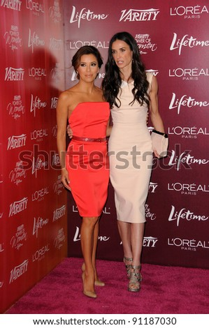 Eva Longoria, Demi Moore at 3rd Annual Variety's Power Of Women Event Presented By Lifetime, Four Seasons Hotel, Beverly Hills, CA 09-23-11 - stock photo