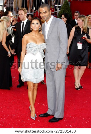 Eva Longoria Parker and Tony Parker at the 60th Primetime EMMY Awards held at the Nokia Theater in Los Angeles, California, United States on September 21, 2008. - stock photo