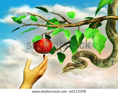 Eva's hand reaching for the forbidden apple. A snake is hanging from the tree. Digital illustration. - stock photo