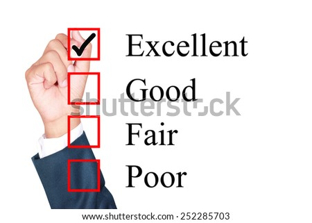 Evaluation form tick excellent by businessman - stock photo